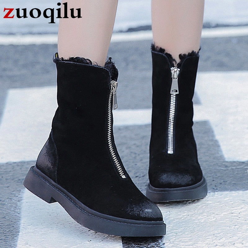 women snow boots 2018 winter boots women plush mid calf boots flat ladies winter shoes women boots 2018 botines mujer