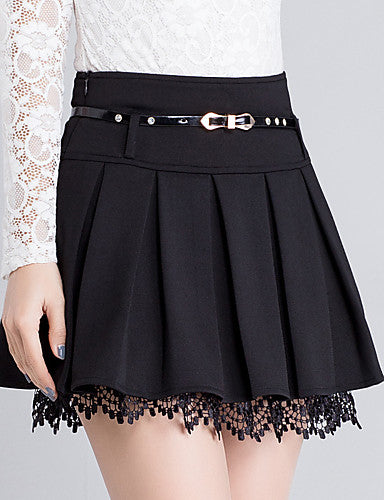 Women's Daily Plus Size A Line Skirts - Solid Colored Lace Black