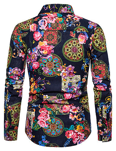 Men's Street Club Exaggerated Shirt - Floral / Graphic / Tribal Print Classic Collar Black / Long Sleeve