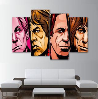 The Rolling Stones Art 4 Pieces Canvas