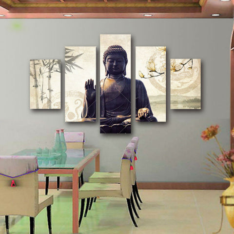 5 Piece Canvas Buddha Painting Wall Decor