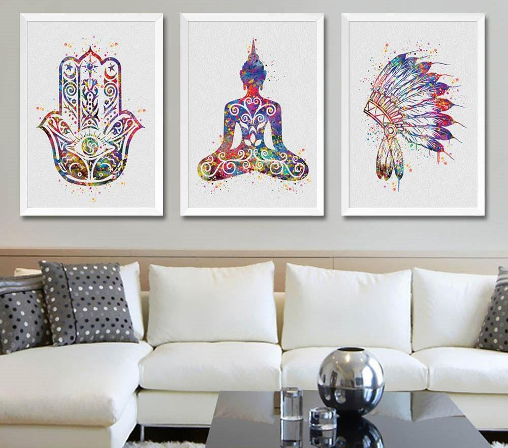 Watercolor Buddha Lotus Canvas Wall Decor
