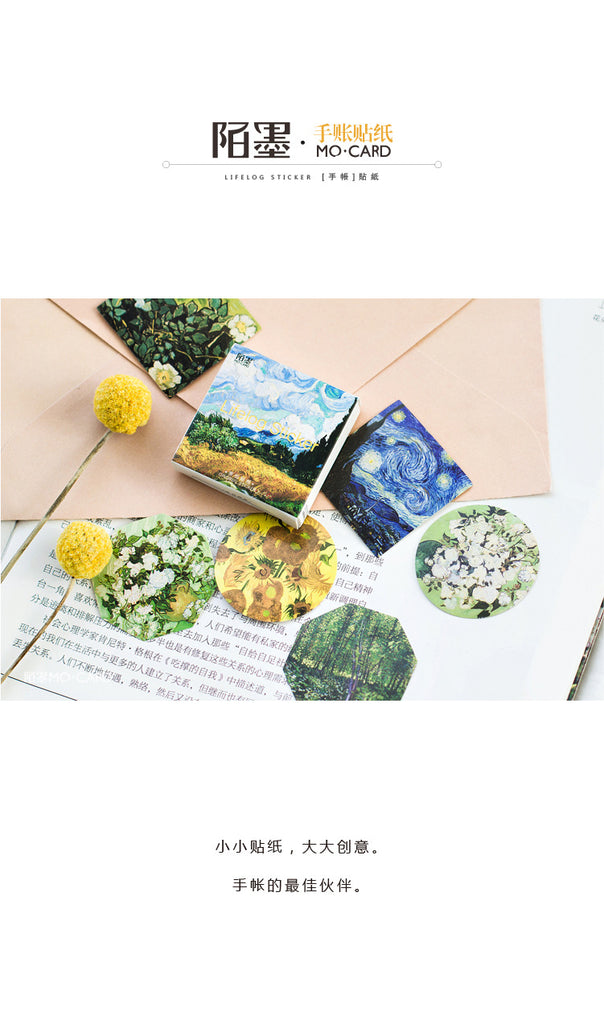 45 Pcs/lot Cute Van Gogh Oil Painting Mini Paper Ablum Diary Scrapbooking Label Sticker