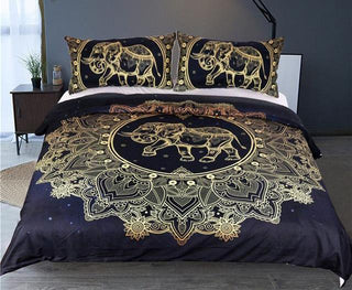 Mandala Black Golden Elephant Duvet Cover With Pillowcase Bedding Set