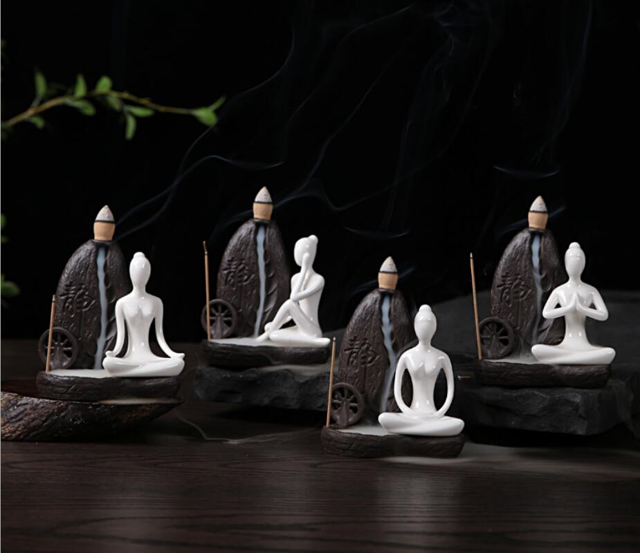 Ceramic Yoga Girl Incense Holder