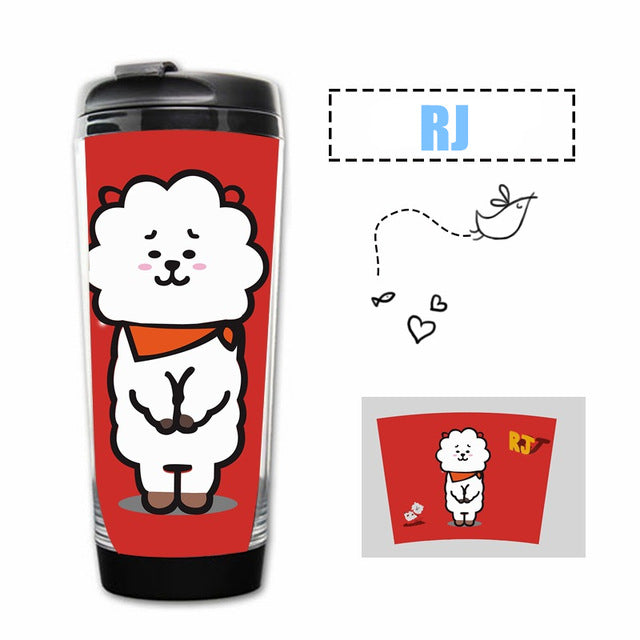BTS BT21 Harajuku Style Stainless Steel Double Layer Mug