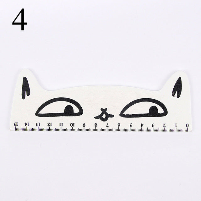 15cm Cute Cartoon Cat Wooden Ruler School Parallel Ruler For Painting Drawing