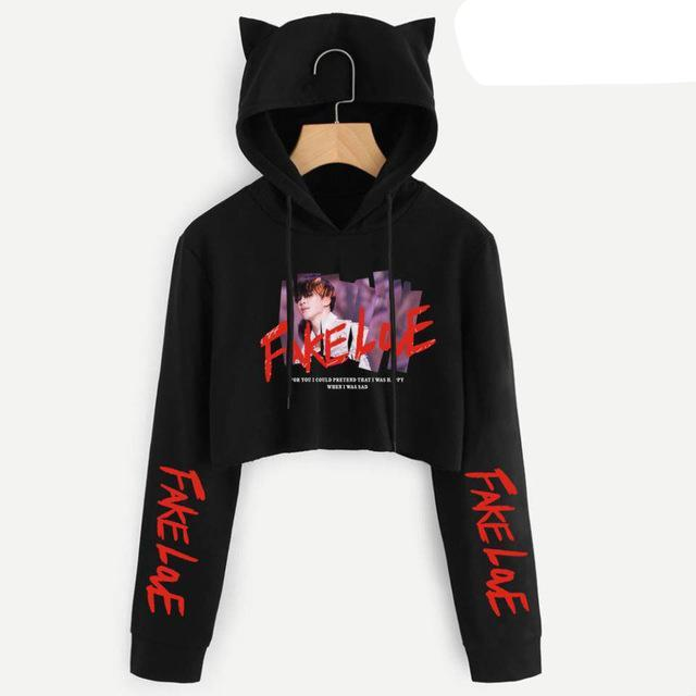 BTS Fake Love Crop Tops Hoodies Cat Hooded