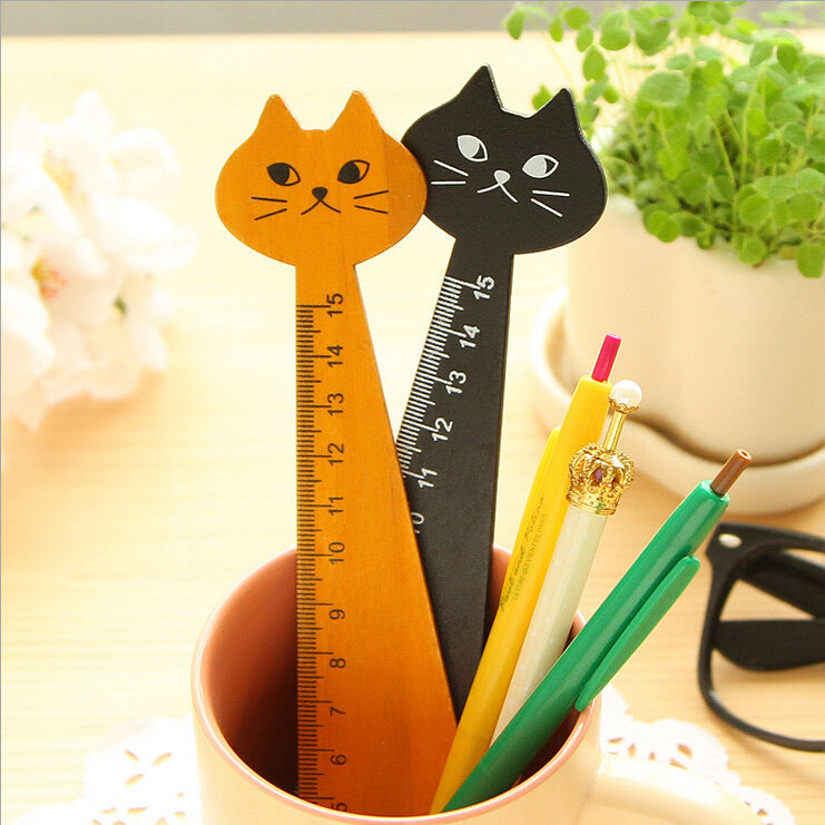 New Cat Straight Ruler Wooden Kawaii Tools Stationery Cartoon Drawing Gift Korean Office School Kitten 2 Colors