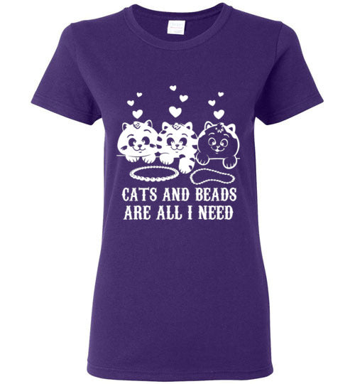 Cats And Beads Ladies Short-Sleeve