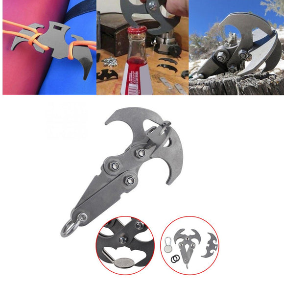 Multi-purpose Stainless Steel Gravity Hook Survival Folding Grappling Hook Climbing Claw Carabiner