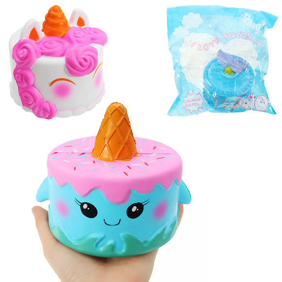 Squishy Unicorn Ice Cream Whale Cake 11*10cm Slow Rising With Packaging Collection Gift Soft Toy