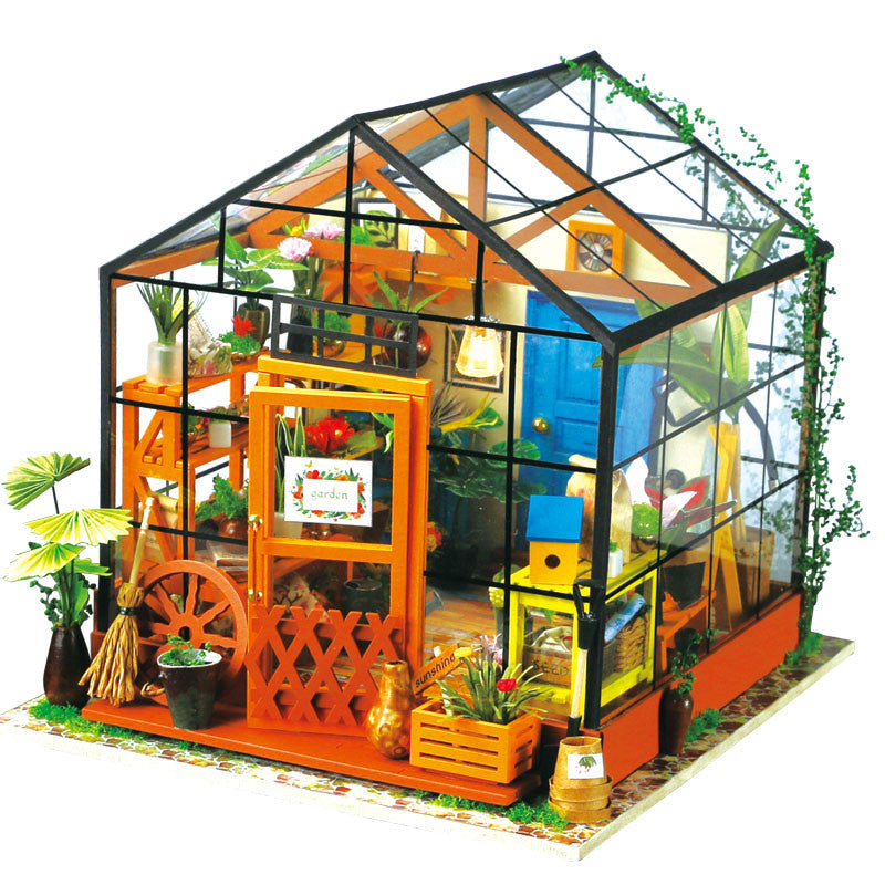 Robotime 1/24 DIY House Kit Cathy Flower Greenhouse DG104 Gift Collect –  Electronic Pro