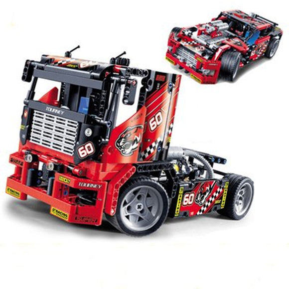 Decool 3360 608pcs Race Truck Car 2 In 1 Transformable Model
