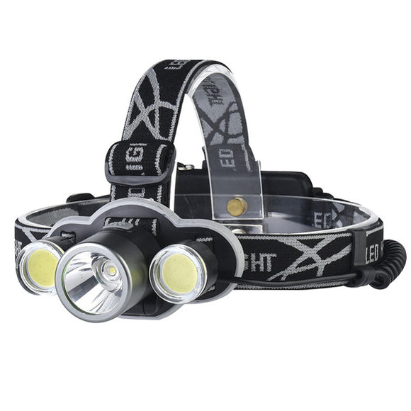 XANES 2505 1200LM Bicycle Headlight 5 Switch Modes T6+2*COB White Light 180  Rotation Adjustable He