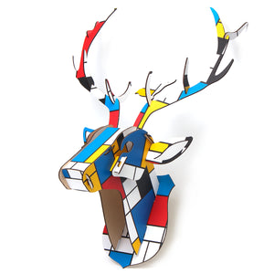Wooden DIY Animal Painted Deer Head Wall Hanging Christmas  Decoration Toys