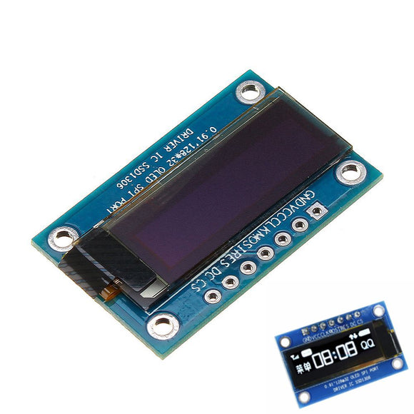 0.91 Inch 128x32 SPI Port OLED LCD Display Screen Module SSD1306 Driver IC DC 3.3V-5V For Arduino