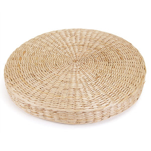 45cm Round Pouf Tatami Cushion Floor Cushions Natural Straw Meditation Yoga Mat