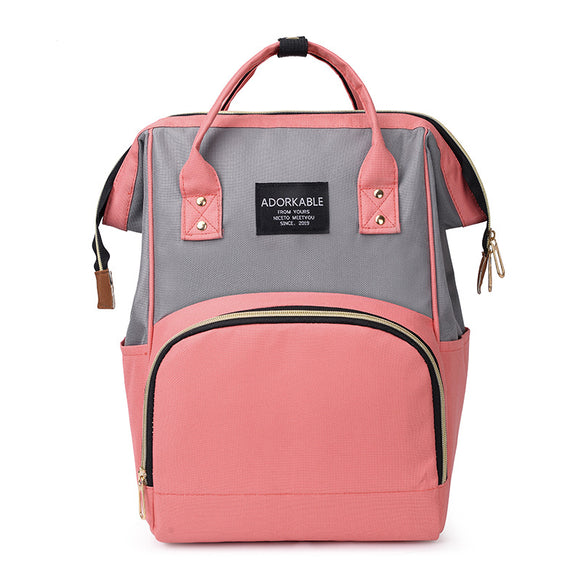 Women Fashion Canvas Casual Mummy And Kids Patchwork Backpack Handbag