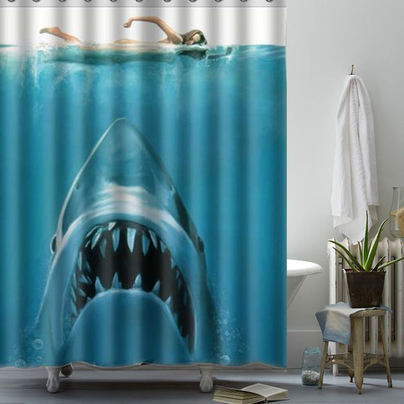 150x180cm Shark Pattern Waterproof Polyester Shower Curtain Bathroom Decor with 12 Hooks