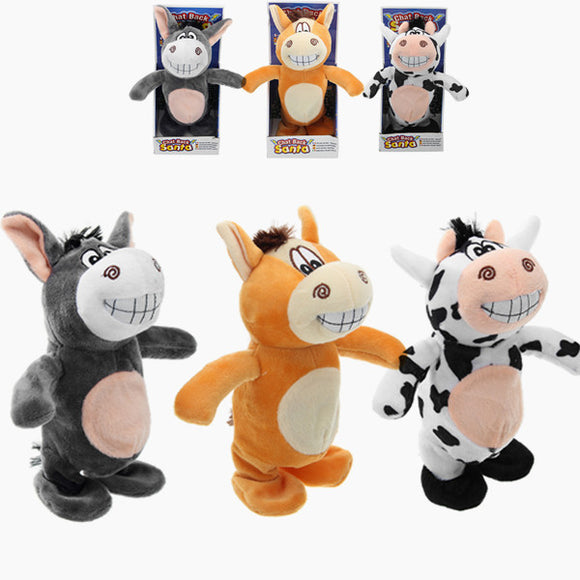 3PCS 20cm Talking Donkey Stuffed Animal Cow Walking Electronic Moving Cow Soft Toy Kids Gift