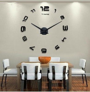 LARGE 3D BLACK STUNNING DIY NUMBER WALL CLOCK