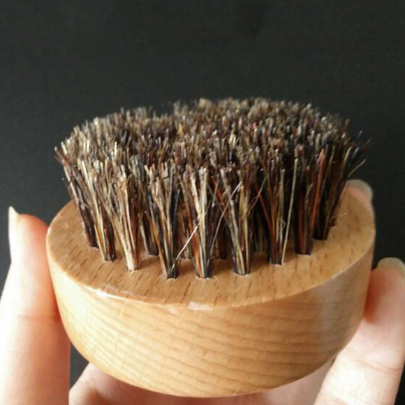 Round Boar Bristle Wooden Thickest Beard Taming Brushing Palm Brush