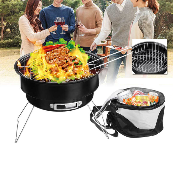 2 In 1 Portable Barbecue Oven Folding BBQ Grill With Cooler Bag Camping Hiking Picnic