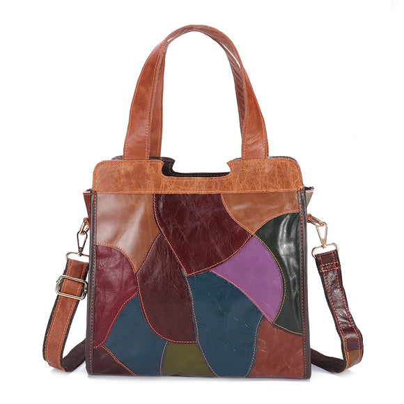 Women Patchwork Genuine Leather Tote Bags Large Capacity Handbag Bohemian Vintage Crossbody Bags