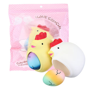 2 In 1 Squishy Chick Lay Eggs 12*10*7cm Funny Slow Rising Toy With Original Packing