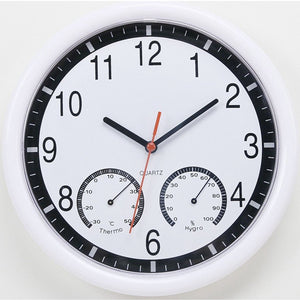 10'' 10 Inch Silent Modern Wall Clock With Thermometer & Hygrometer For Living Home Kitchen Office