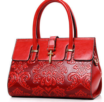 Chinese Style Embossed Noble Fashion Handbag Shoulder Slung Festive Red National Wind Bride Wedding Party Bag