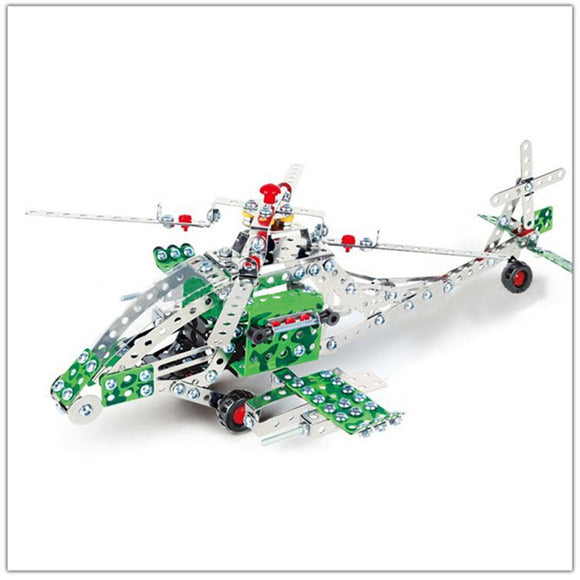 426PCS Full Alloy Jigsaw Puzzles Apache Plane Model Building Blocks Toy