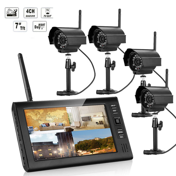 ENNIO SY602E14 7 inch TFT Digital 2.4G Wireless Audio Video 4CH Quad DVR Security System With 4 Cameras
