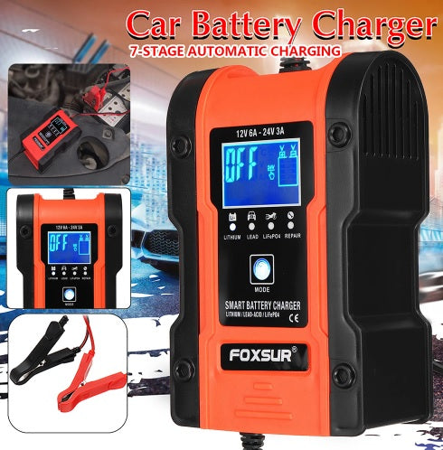 3 IN 1 12V 24V Touch Screen LCD Pulse Repair Battery Charger Motorcycle Car Automatic Intelligent For Lithium Battery Lead-Acid Agm Gel Wet LiFePO4 Batteries