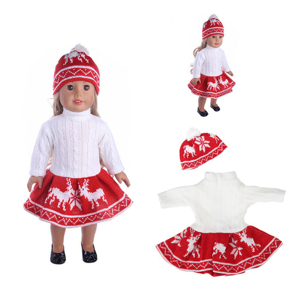 18inch Doll Clothes For American Girl Doll Sweater+ Skirt + Beanie Hat Without Reborn Baby
