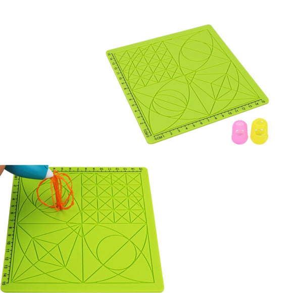 C-Type 3D Printing Pen Silicone Design Mat + 2pcs Insulation Silicone Finger Caps