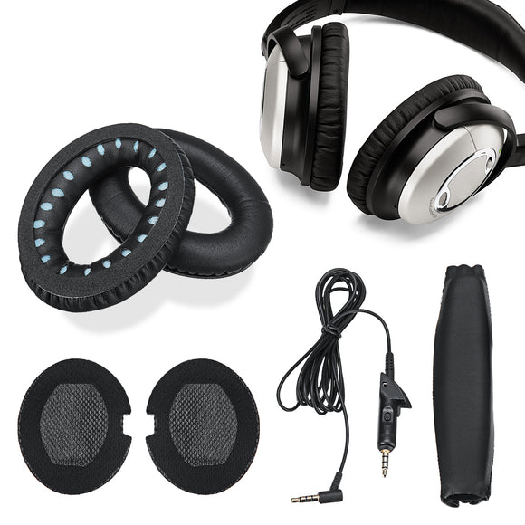 Replacement Headphone EarPads Audio Cable Headband Set for BOSE QuietComfort QC15