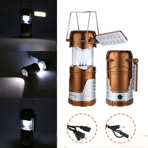3 in 1 Retractable Solar Lantern Camping Tent USB Rechargeable LED Flashlight Torch