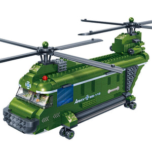 BanBao Blocks Toys Dual Rotors Transport Helicopter Military Army Bricks Educational Building Model
