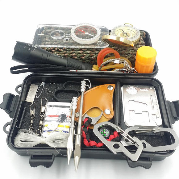 25 In One Sports SOS Emergency Survival Equipment Kit For Tactical Hunting Tool With Self-Help Box