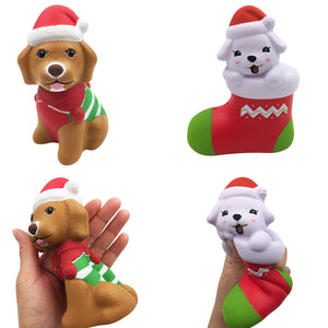 2PCS Squishyfun Christmas Puppy Sock Dog Squishy 13CM Licensed Slow Rising With Packaging