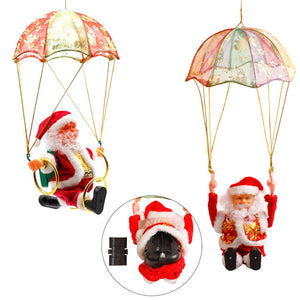 Santa Claus Ornament Hanging Parachute Turn Circle Acrobatics Stuffed Plush Toy Christmas Decoration