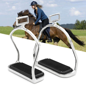 Horse Riding Stirrups Stainless Steel Double Bent Safety Stirrups Irons