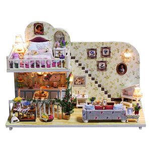 iiecreate K-023 Amsterdam Village Cottage DIY Dollhouse With Furniture Light Cover Gift House Toys