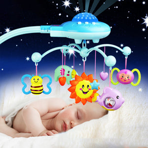 Crib Mobile Musical Bed Bell With Animal Rattles Projection Cartoon Early Learning Toys 0-12 Months
