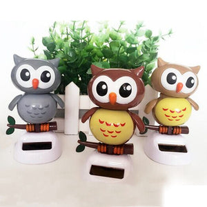 Solar Powered Owl Snowman Dancing Flip Swing Shook Head For Car Decoration Lovely Solar Energy Toys