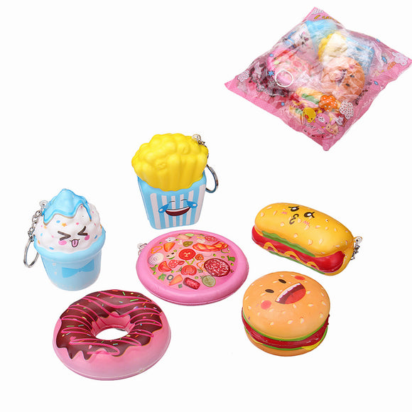 6PCS/Lot Squishy Pizza Chips Donuts Hotdog Hamburger Ice Cream Slow Rising Toy With Phone Pendant