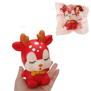 Sleeping Sika Deer Squishy 15*8CM Slow Rising Soft Animal Toy Gift Collection