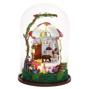 iiecreate GN04 Mushroom Romance DIY Doll House Miniature Furniture Kit Music LED Light Kids Gift